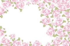 Rajzolt,retro,virágmintás,fehér,pink-rózsaszín,zöld,gyengén mosható,vlies poszter, fotótapéta