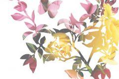 Rajzolt,retro,természeti mintás,virágmintás,bézs-drapp,fehér,narancs-terrakotta,pink-rózsaszín,piros-bordó,sárga,zöld,gyengén mosható,vlies poszter, fotótapéta