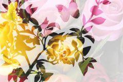 Rajzolt,retro,virágmintás,narancs-terrakotta,pink-rózsaszín,piros-bordó,sárga,zöld,gyengén mosható,vlies poszter, fotótapéta