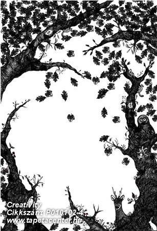 Fa hatású-fa mintás,gyerek,természeti mintás,fehér,fekete,gyengén mosható,vlies poszter, fotótapéta