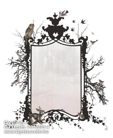 Fa hatású-fa mintás,rajzolt,retro,természeti mintás,fehér,fekete,pink-rózsaszín,gyengén mosható,vlies poszter, fotótapéta