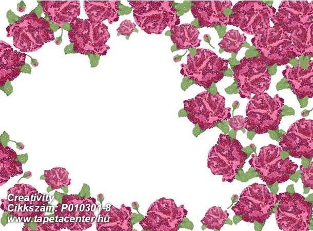 Rajzolt,retro,virágmintás,fehér,piros-bordó,zöld,gyengén mosható,vlies poszter, fotótapéta