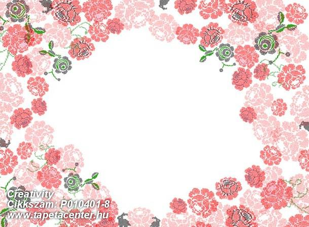 Rajzolt,retro,virágmintás,fehér,pink-rózsaszín,piros-bordó,zöld,gyengén mosható,vlies poszter, fotótapéta