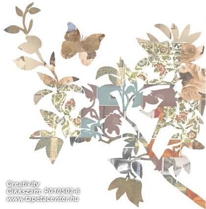 Különleges motívumos,rajzolt,retro,természeti mintás,virágmintás,barna,bézs-drapp,fehér,narancs-terrakotta,szürke,zöld,gyengén mosható,vlies poszter, fotótapéta