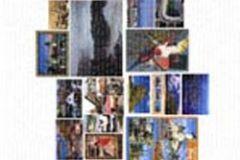 Fotórealisztikus,gyerek,különleges motívumos,retro,tájkép,fehér,fekete,kék,narancs-terrakotta,gyengén mosható,vlies poszter, fotótapéta