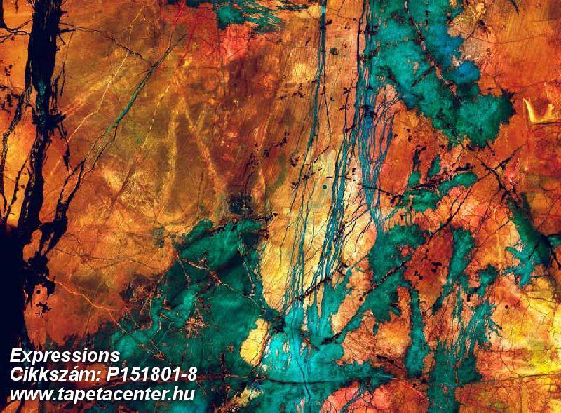Absztrakt,rajzolt,retro,kék,narancs-terrakotta,türkiz,zöld,gyengén mosható,vlies poszter, fotótapéta