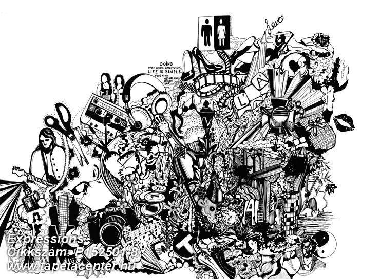 Absztrakt,feliratos-számos,fotórealisztikus,geometriai mintás,különleges motívumos,rajzolt,retro,fehér,fekete,gyengén mosható,vlies poszter, fotótapéta