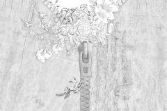 Absztrakt,különleges motívumos,rajzolt,textilmintás,virágmintás,fehér,szürke,gyengén mosható,vlies poszter, fotótapéta