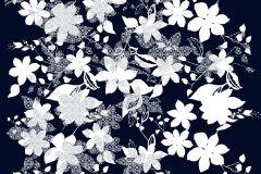 Absztrakt,különleges motívumos,rajzolt,retro,virágmintás,fehér,fekete,gyengén mosható,vlies poszter, fotótapéta
