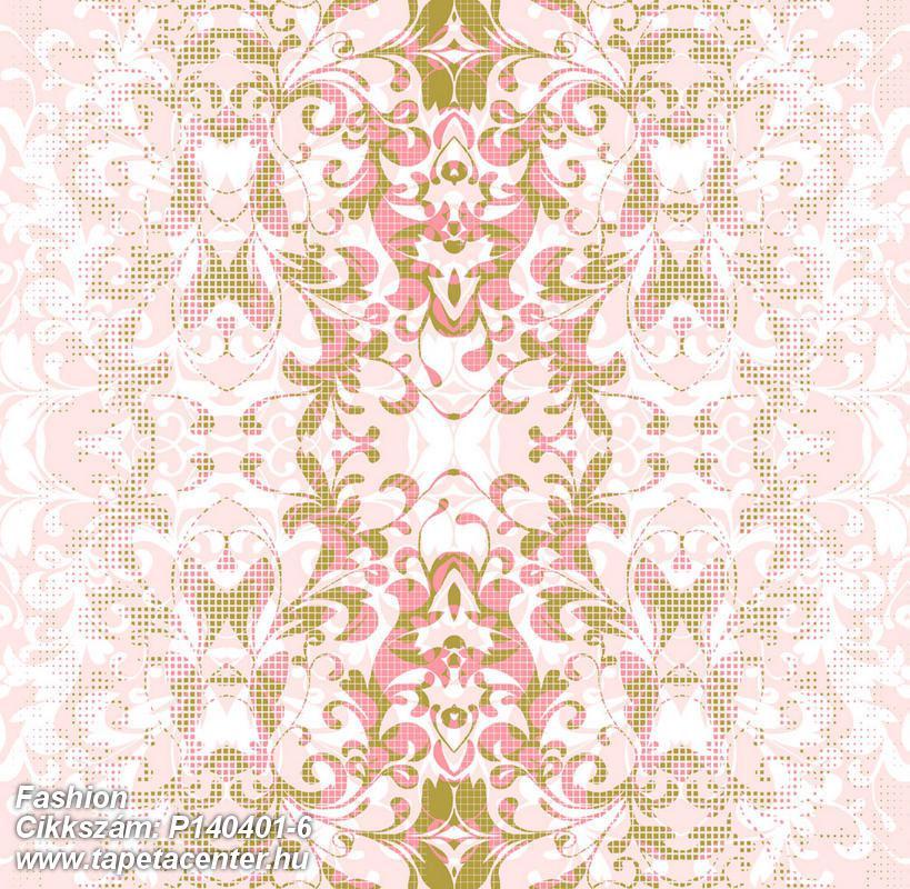 Barokk-klasszikus,csipke,természeti mintás,textil hatású,arany,fehér,pink-rózsaszín,gyengén mosható,vlies poszter, fotótapéta
