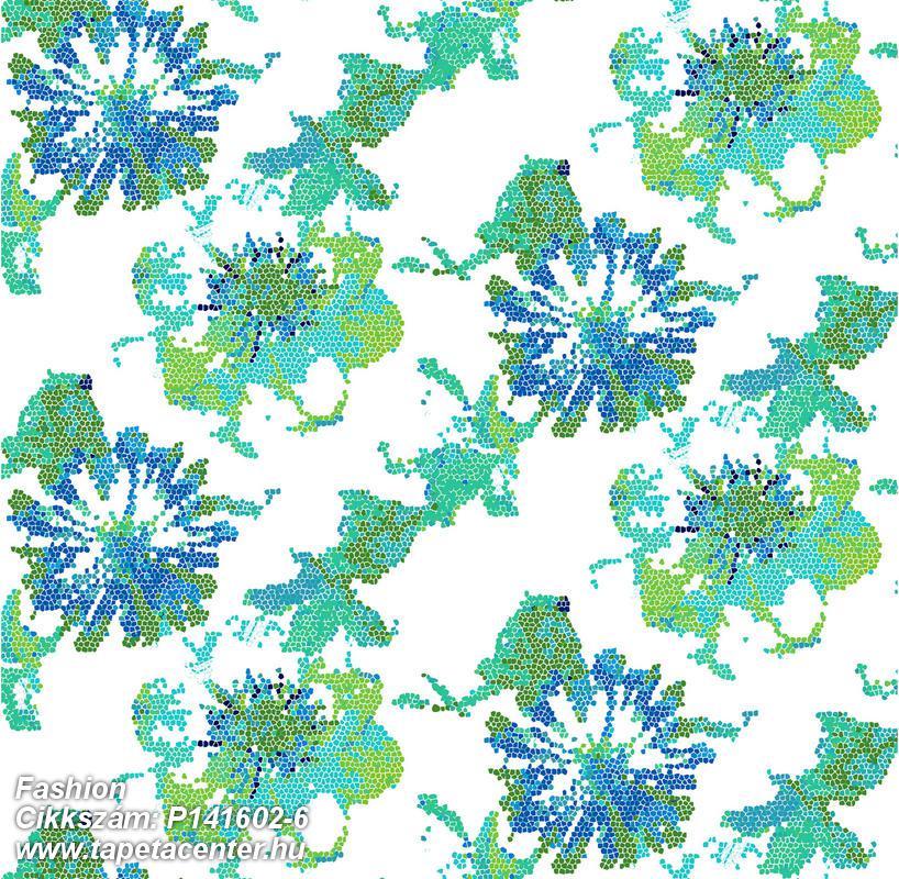 Absztrakt,különleges motívumos,retro,virágmintás,fehér,kék,türkiz,zöld,gyengén mosható,vlies poszter, fotótapéta