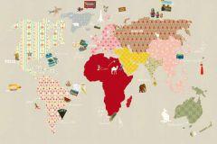 Gyerek,rajzolt,bézs-drapp,pink-rózsaszín,piros-bordó,sárga,zöld,gyengén mosható,vlies poszter, fotótapéta