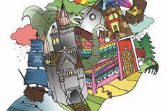 Gyerek,különleges motívumos,rajzolt,barna,fehér,fekete,kék,sárga,zöld,gyengén mosható,vlies poszter, fotótapéta