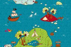Gyerek,rajzolt,természeti mintás,kék,piros-bordó,zöld,gyengén mosható,vlies poszter, fotótapéta