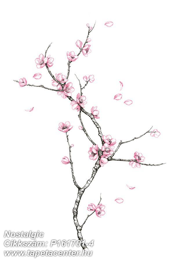 Fa hatású-fa mintás,rajzolt,természeti mintás,virágmintás,fehér,fekete,pink-rózsaszín,gyengén mosható,vlies poszter, fotótapéta