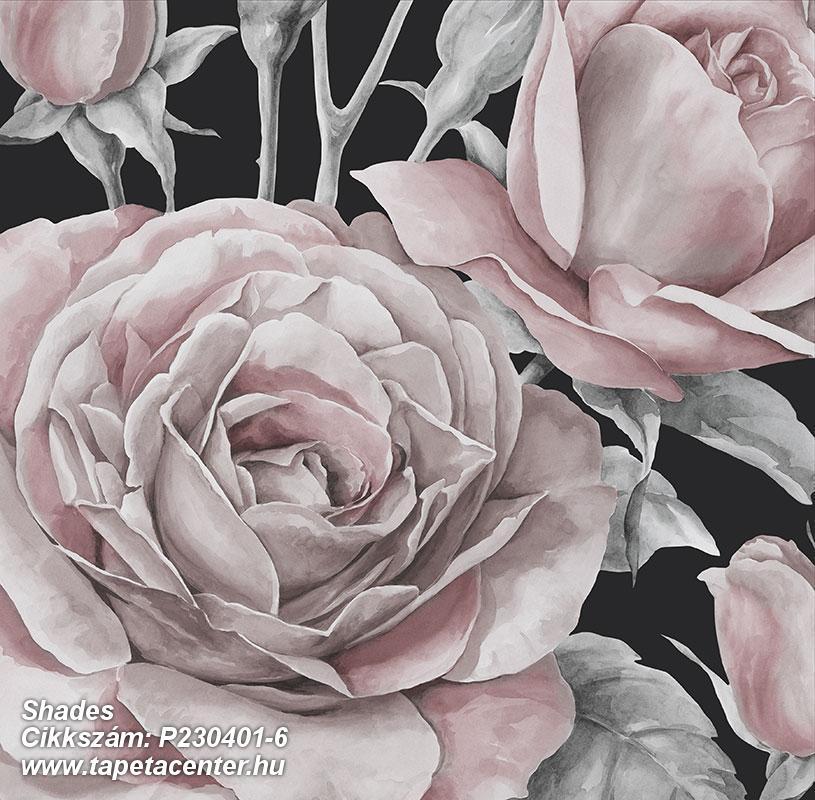 Különleges motívumos,rajzolt,retro,természeti mintás,virágmintás,bézs-drapp,ezüst,fekete,pink-rózsaszín,szürke,gyengén mosható,vlies poszter, fotótapéta