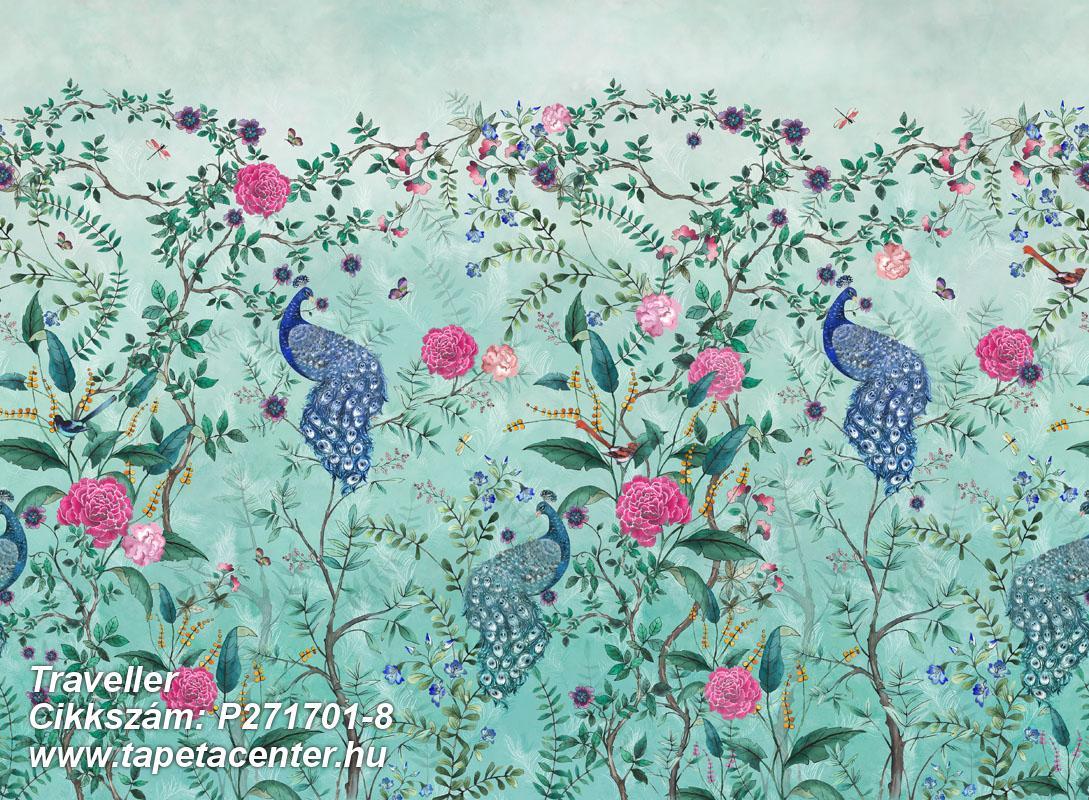állatok,virágmintás,barna,kék,pink-rózsaszín,türkiz,zöld,lemosható,vlies poszter, fotótapéta