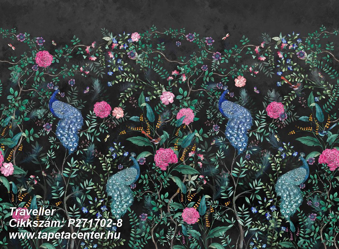 állatok,különleges motívumos,virágmintás,barna,fekete,kék,pink-rózsaszín,szürke,türkiz,zöld,lemosható,vlies poszter, fotótapéta