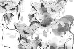 Különleges motívumos,rajzolt,retro,természeti mintás,virágmintás,fehér,fekete,szürke,gyengén mosható,vlies poszter, fotótapéta