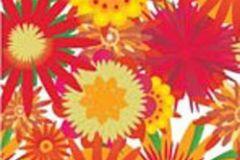 Különleges motívumos,rajzolt,retro,virágmintás,fehér,piros-bordó,sárga,zöld,gyengén mosható,vlies poszter, fotótapéta
