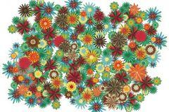 Különleges motívumos,rajzolt,retro,természeti mintás,virágmintás,barna,fehér,piros-bordó,sárga,türkiz,zöld,gyengén mosható,vlies poszter, fotótapéta