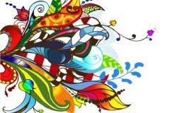Különleges motívumos,rajzolt,retro,természeti mintás,virágmintás,barna,fehér,kék,piros-bordó,sárga,türkiz,zöld,gyengén mosható,vlies poszter, fotótapéta