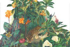 Gyerek,rajzolt,retro,természeti mintás,virágmintás,fehér,narancs-terrakotta,piros-bordó,sárga,vajszín,zöld,gyengén mosható,vlies poszter, fotótapéta