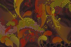 Absztrakt,különleges motívumos,rajzolt,retro,barna,bézs-drapp,piros-bordó,zöld,gyengén mosható,vlies poszter, fotótapéta