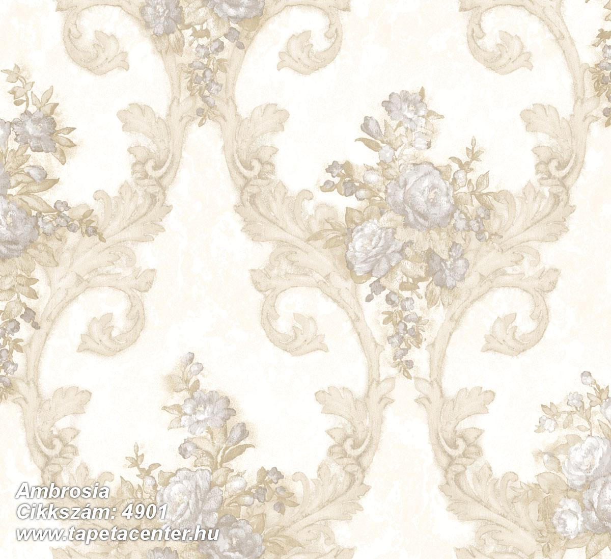 Barokk-klasszikus,természeti mintás,textil hatású,virágmintás,arany,bézs-drapp,fehér,szürke,súrolható,vlies tapéta