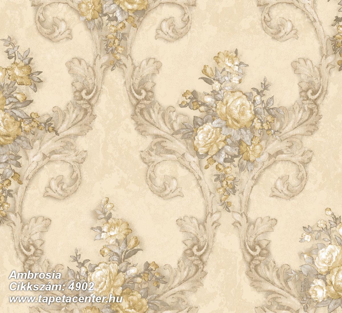 Barokk-klasszikus,természeti mintás,textil hatású,virágmintás,arany,barna,bézs-drapp,fekete,szürke,súrolható,vlies tapéta