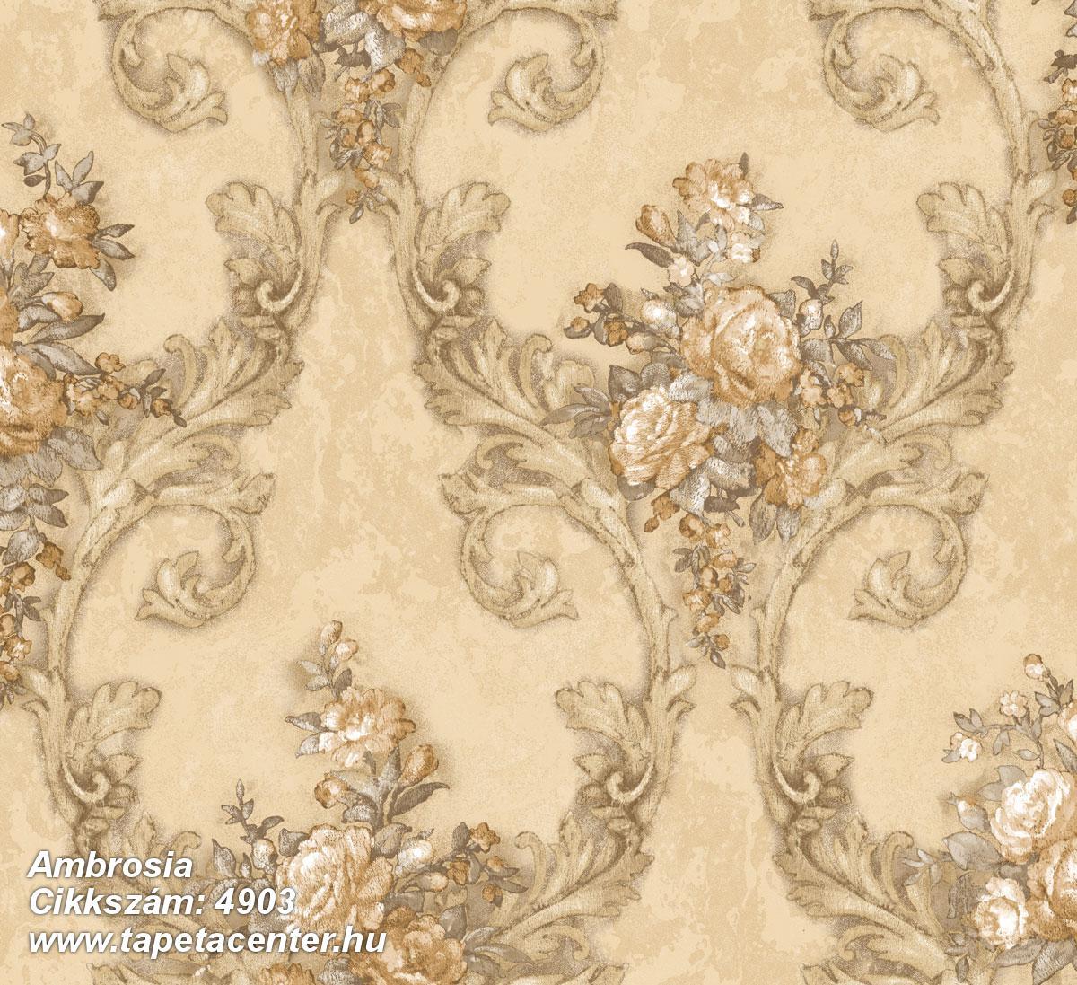 Barokk-klasszikus,természeti mintás,textil hatású,virágmintás,arany,barna,bézs-drapp,fehér,szürke,súrolható,vlies tapéta