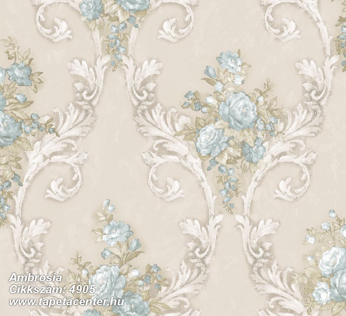 Barokk-klasszikus,természeti mintás,textil hatású,virágmintás,bézs-drapp,fehér,kék,szürke,vajszín,súrolható,vlies tapéta