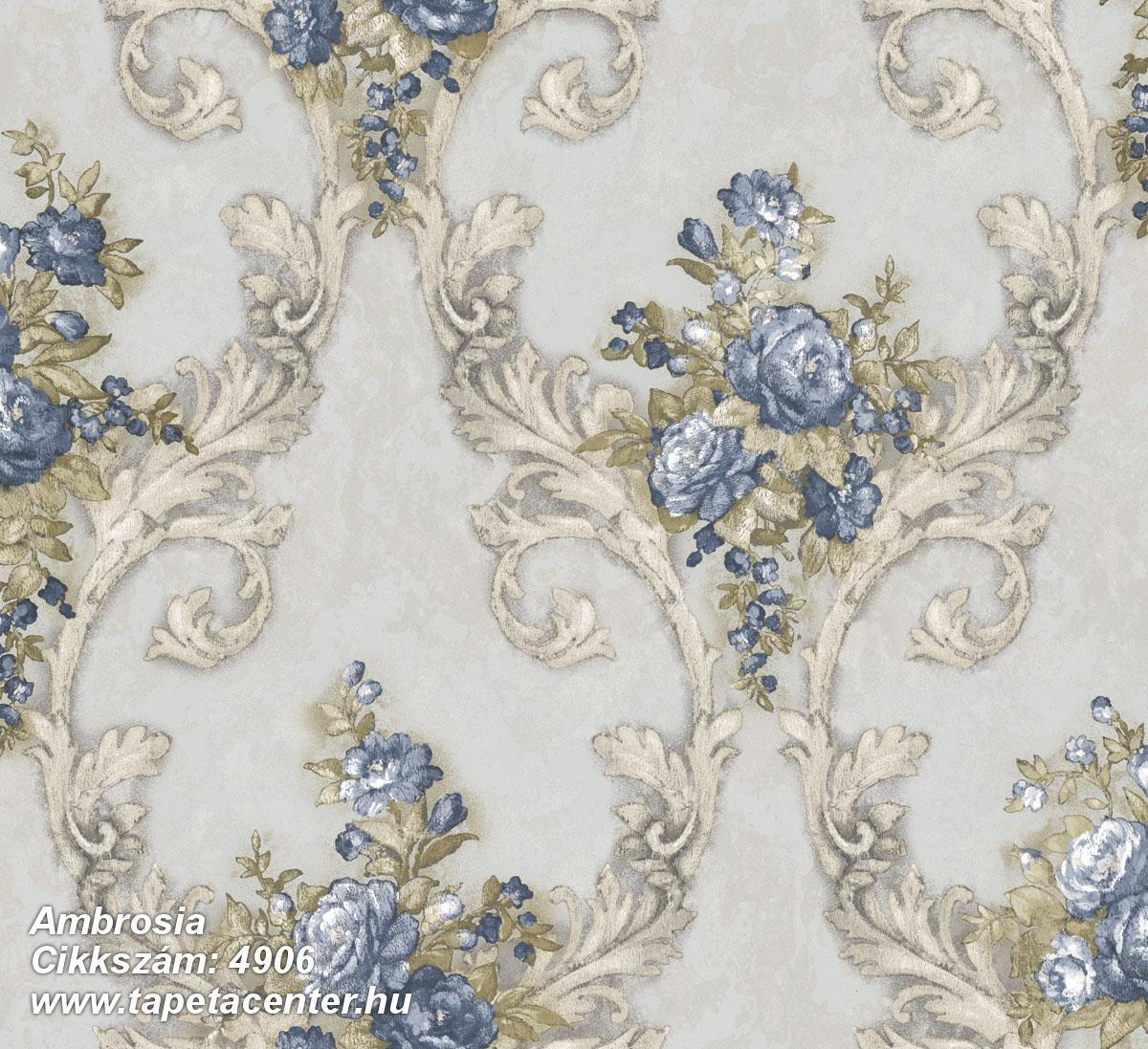 Barokk-klasszikus,természeti mintás,textil hatású,virágmintás,arany,barna,fehér,kék,szürke,súrolható,vlies tapéta