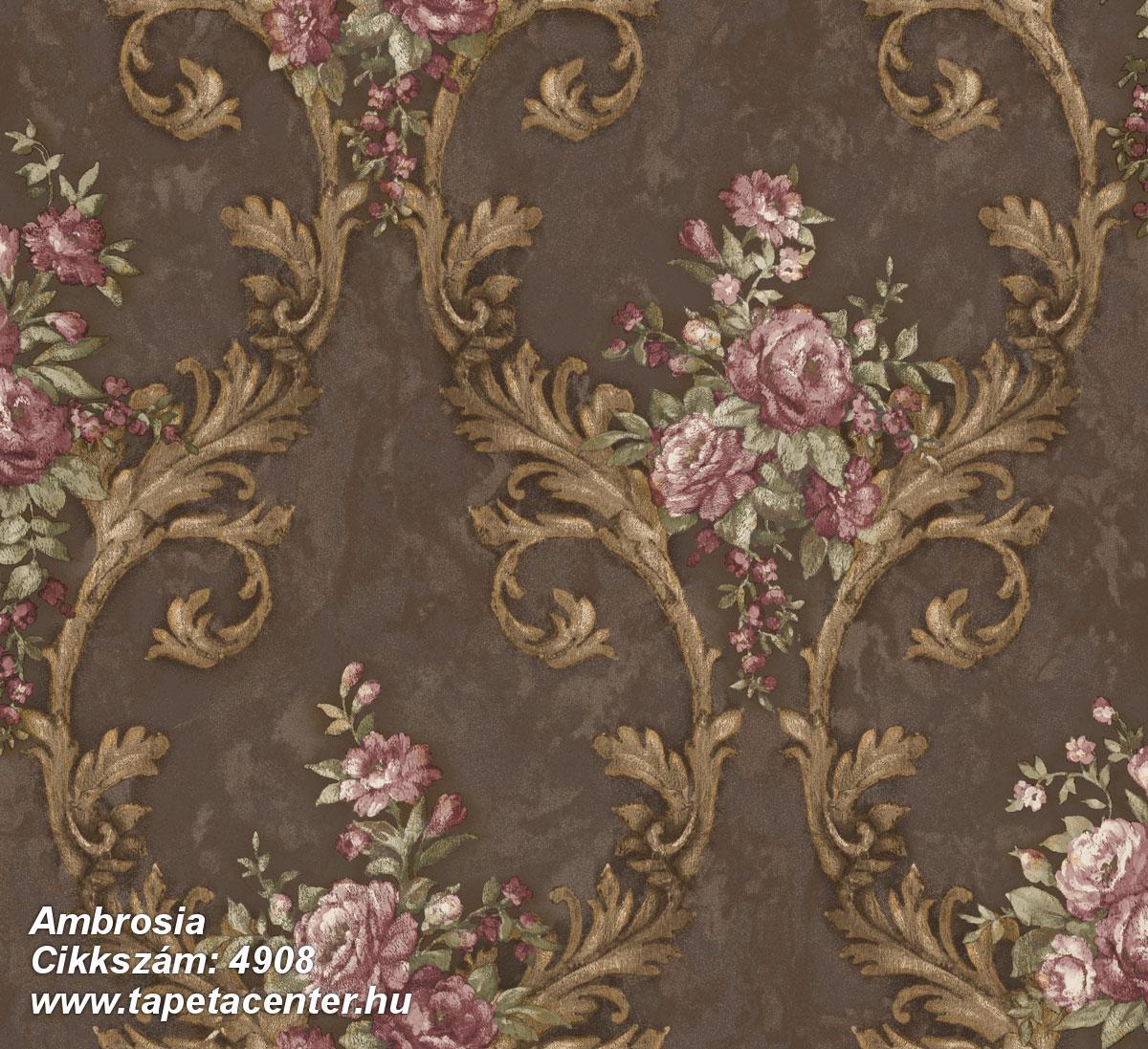 Barokk-klasszikus,természeti mintás,textil hatású,virágmintás,arany,barna,fehér,pink-rózsaszín,súrolható,vlies tapéta