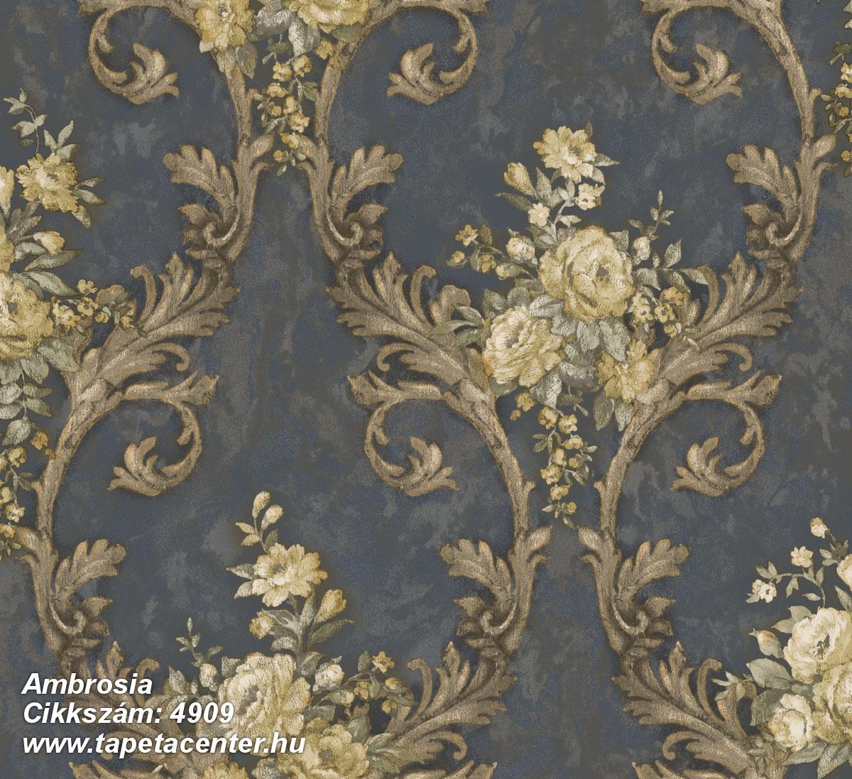 Barokk-klasszikus,természeti mintás,textil hatású,virágmintás,arany,bézs-drapp,szürke,vajszín,súrolható,vlies tapéta