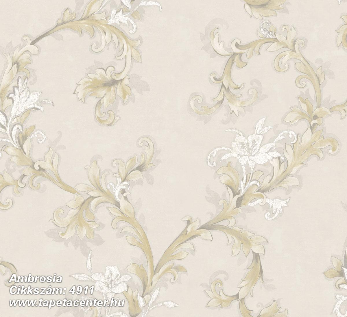 Barokk-klasszikus,természeti mintás,textil hatású,virágmintás,arany,bézs-drapp,fehér,vajszín,súrolható,vlies tapéta