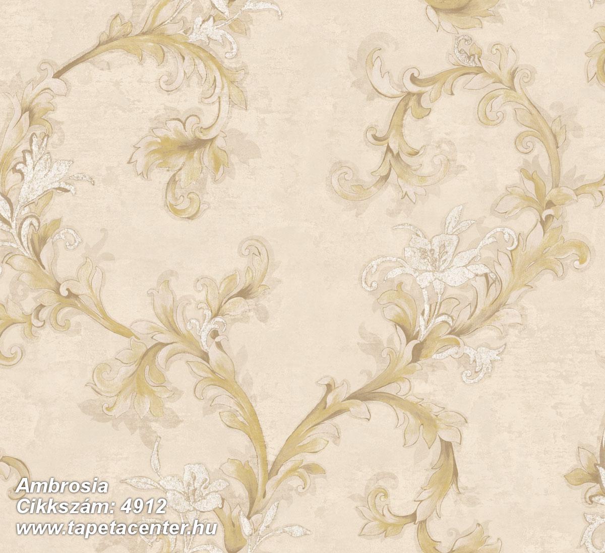 Barokk-klasszikus,természeti mintás,textil hatású,virágmintás,arany,bézs-drapp,fehér,súrolható,vlies tapéta