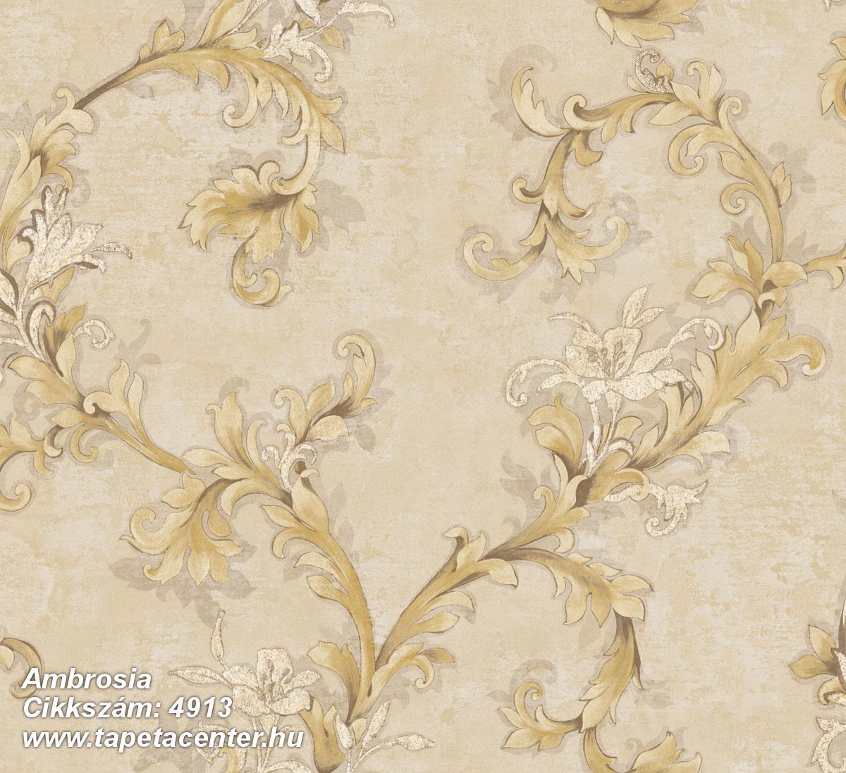Barokk-klasszikus,virágmintás,arany,barna,bézs-drapp,súrolható,vlies tapéta