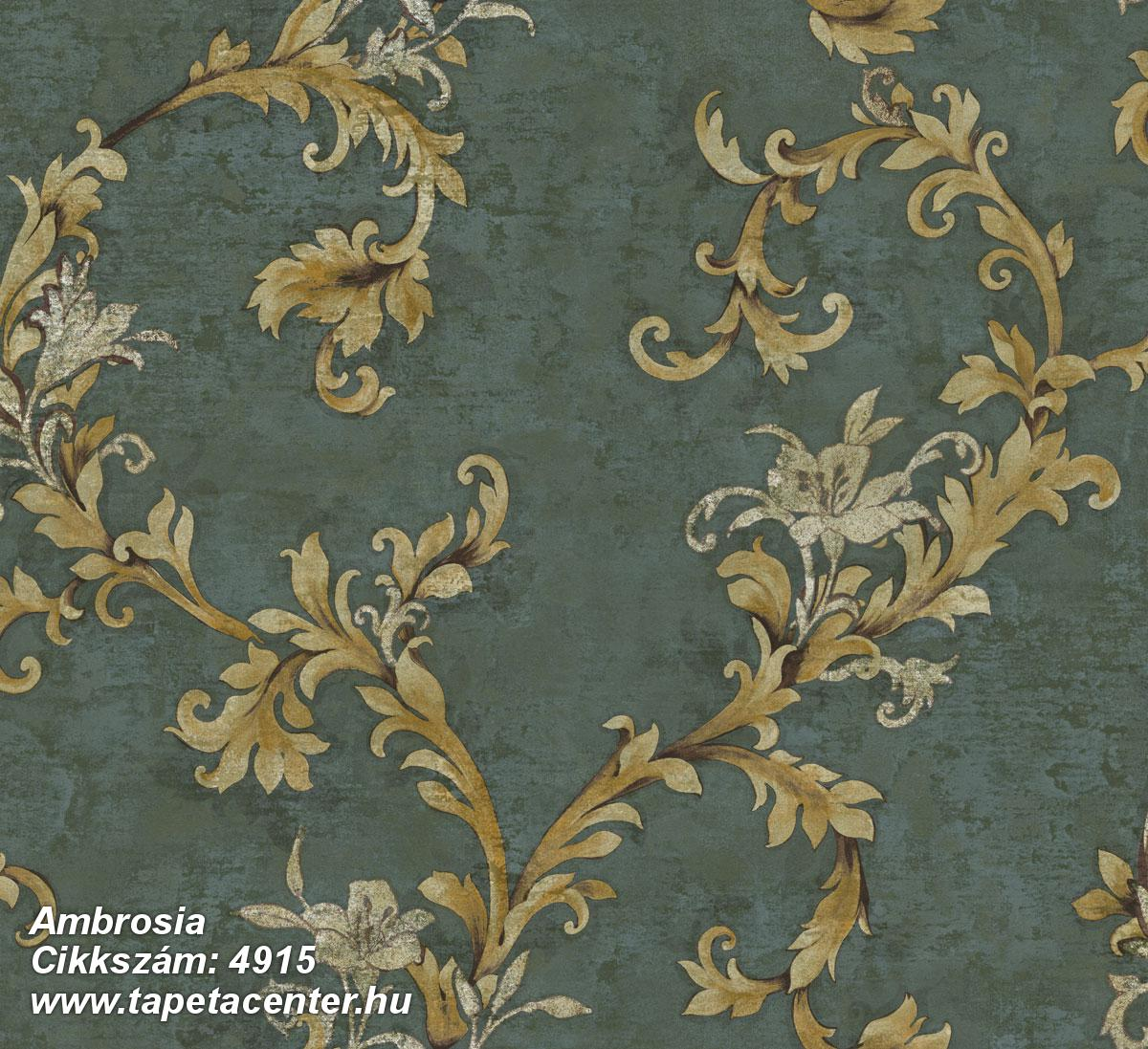 Barokk-klasszikus,természeti mintás,textil hatású,virágmintás,arany,barna,zöld,súrolható,vlies tapéta