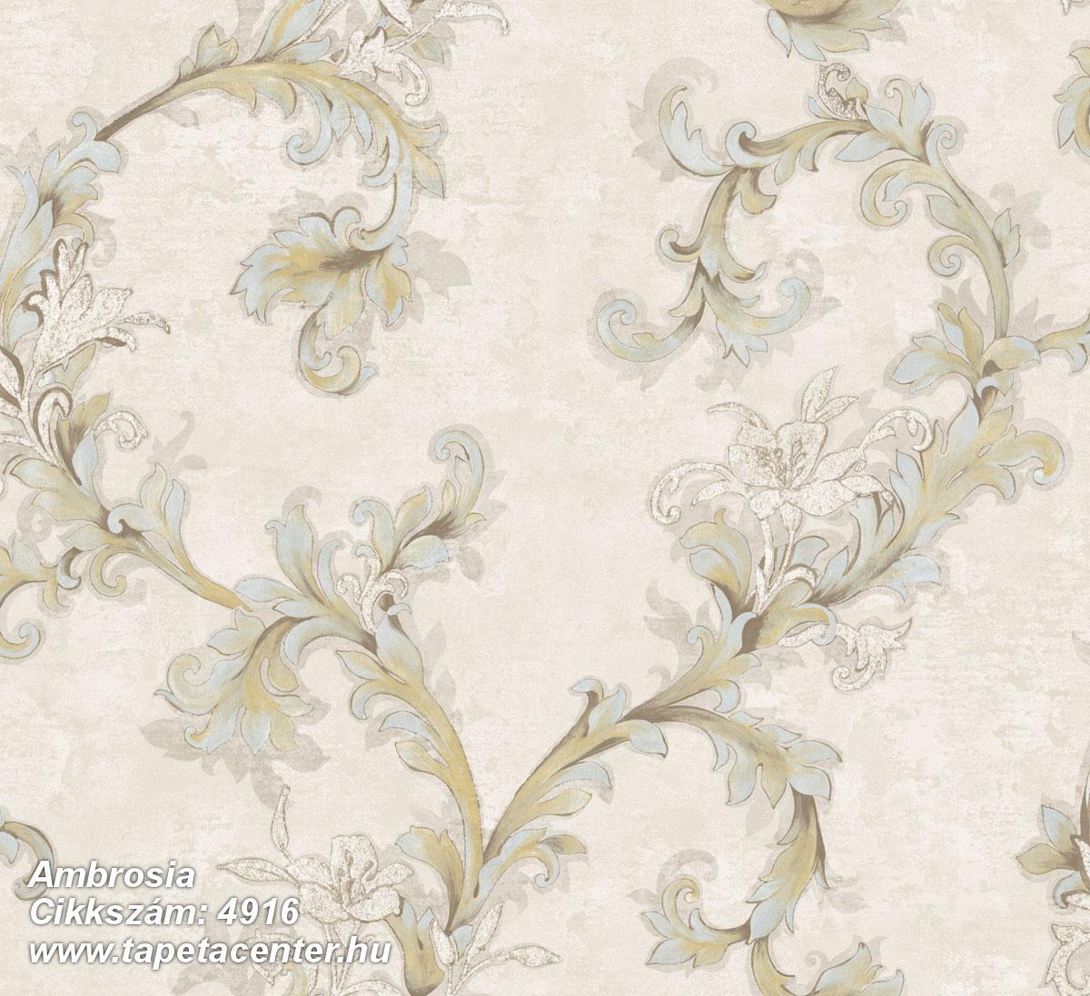 Barokk-klasszikus,természeti mintás,textil hatású,virágmintás,barna,bézs-drapp,szürke,súrolható,vlies tapéta