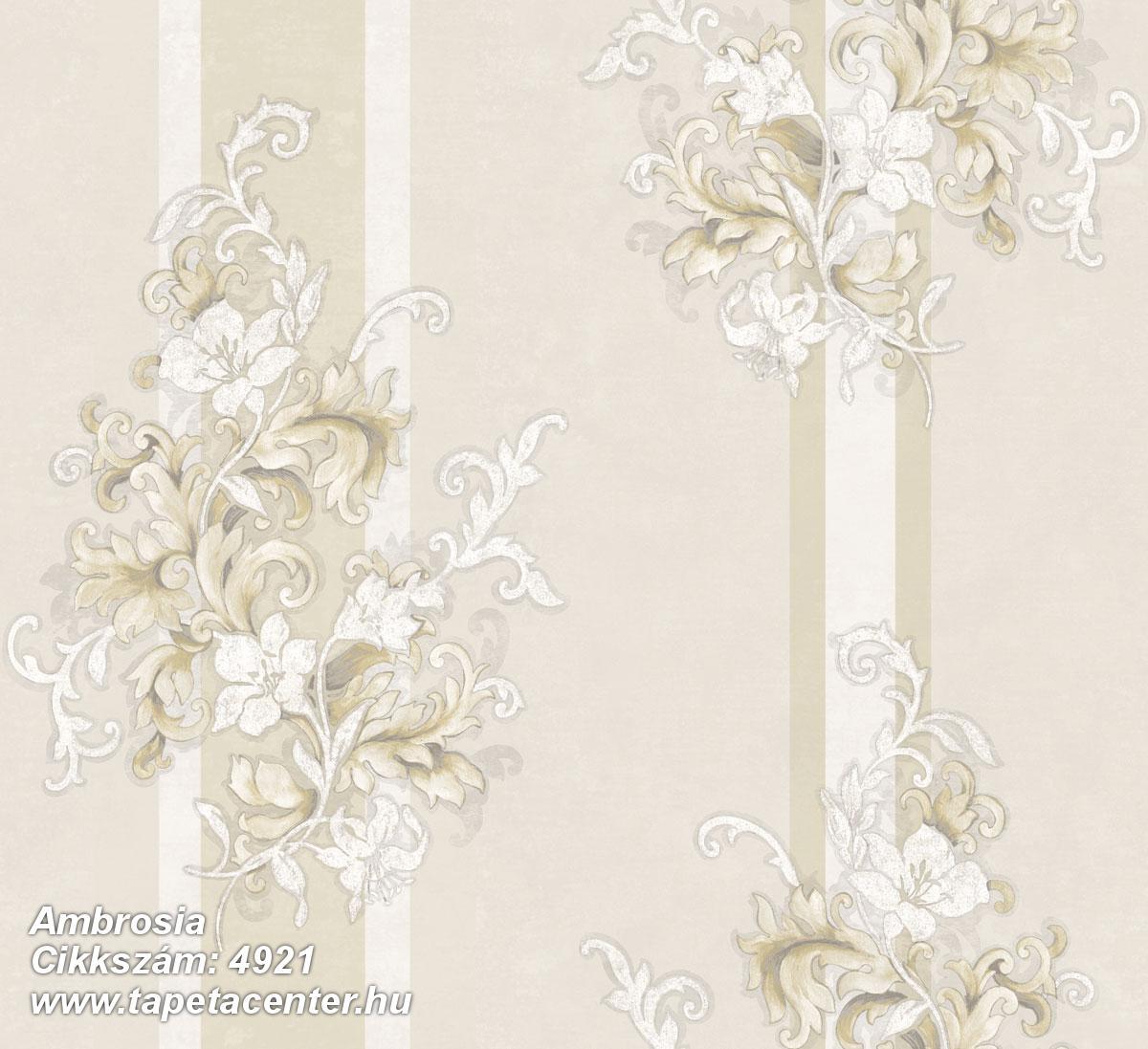 Természeti mintás,textil hatású,virágmintás,barokk-klasszikus,csíkos,arany,bézs-drapp,fehér,súrolható,vlies tapéta