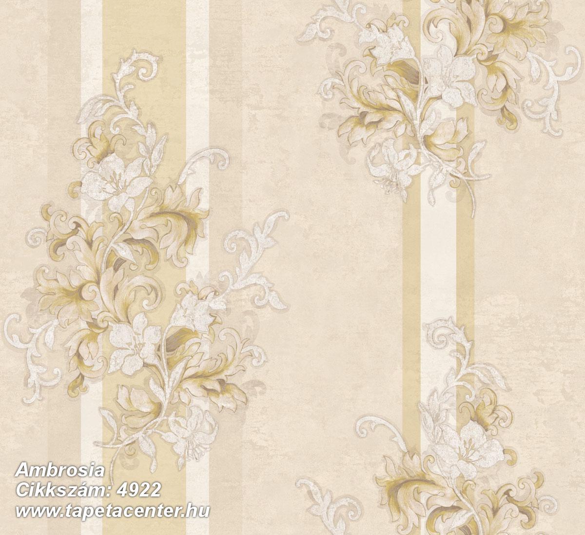 Barokk-klasszikus,csíkos,természeti mintás,textil hatású,virágmintás,arany,bézs-drapp,fehér,súrolható,vlies tapéta