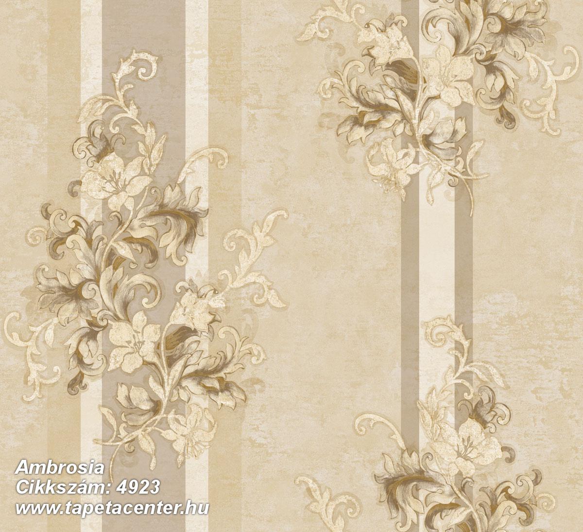 Barokk-klasszikus,csíkos,természeti mintás,textil hatású,virágmintás,arany,barna,bézs-drapp,súrolható,vlies tapéta