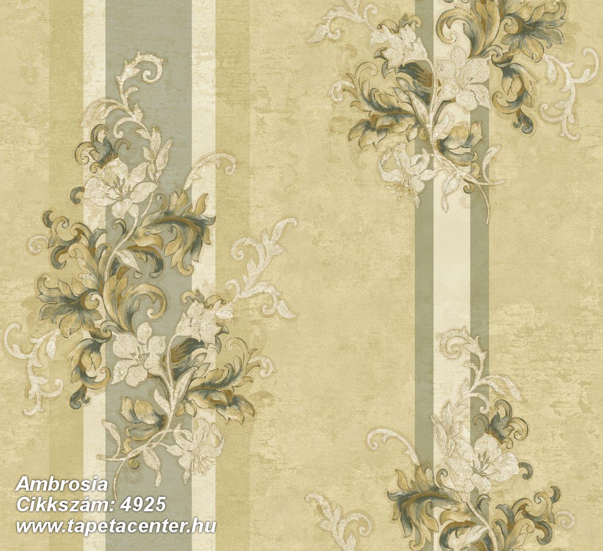 Barokk-klasszikus,csíkos,természeti mintás,textil hatású,virágmintás,arany,bézs-drapp,zöld,súrolható,vlies tapéta
