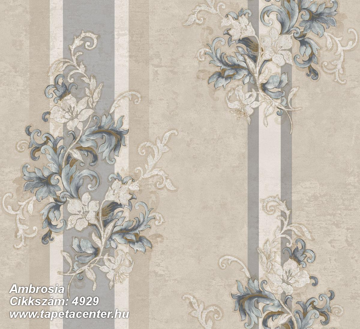 Barokk-klasszikus,csíkos,természeti mintás,virágmintás,bézs-drapp,fehér,kék,szürke,súrolható,vlies tapéta