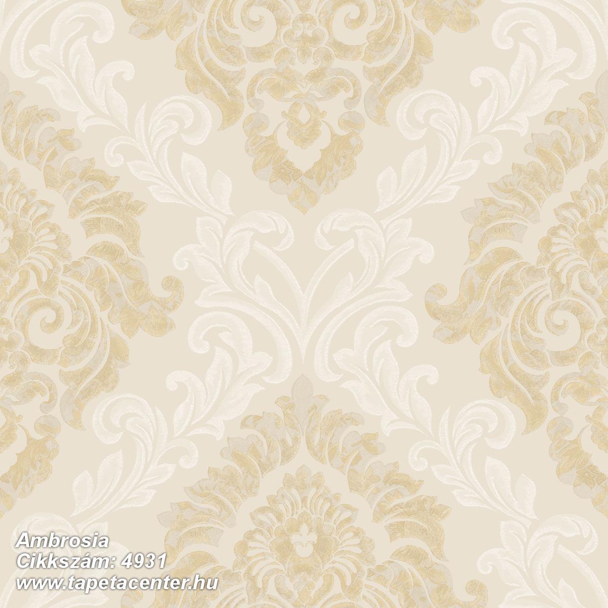 Barokk-klasszikus,különleges motívumos,textil hatású,arany,bézs-drapp,súrolható,vlies tapéta