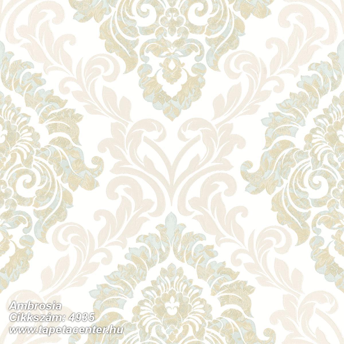 Barokk-klasszikus,különleges motívumos,textil hatású,arany,barna,bézs-drapp,fehér,vajszín,súrolható,vlies tapéta