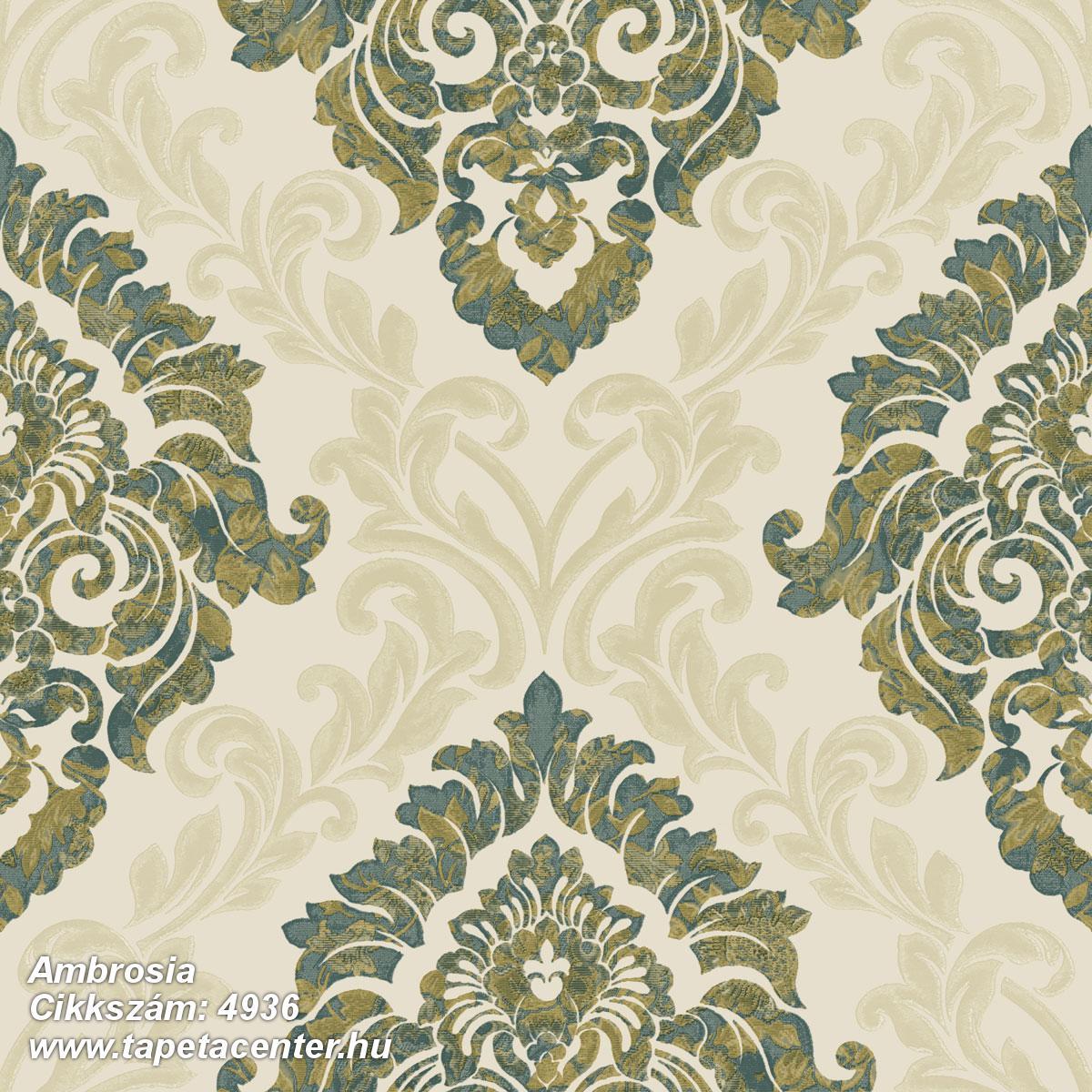 Barokk-klasszikus,különleges motívumos,textil hatású,arany,bézs-drapp,zöld,súrolható,vlies tapéta