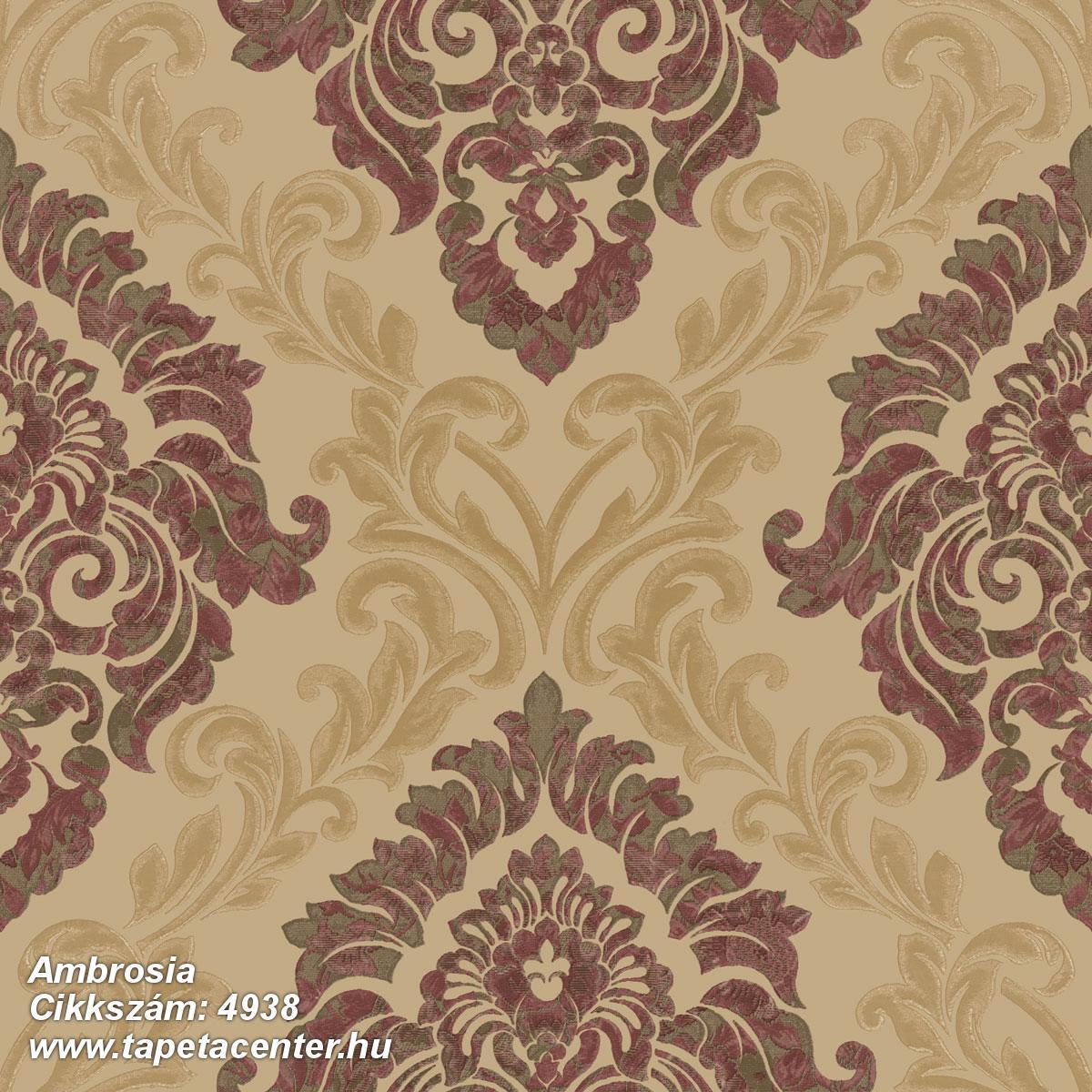 Barokk-klasszikus,különleges motívumos,textil hatású,arany,bézs-drapp,piros-bordó,súrolható,vlies tapéta