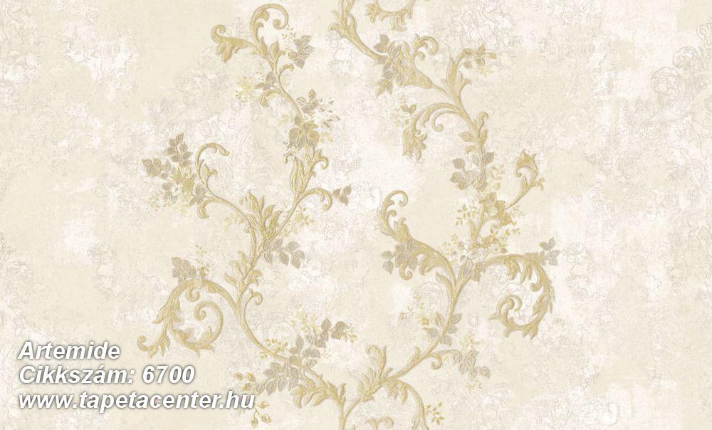 Barokk-klasszikus,különleges motívumos,textil hatású,arany,bézs-drapp,fehér,vajszín,súrolható,vlies tapéta